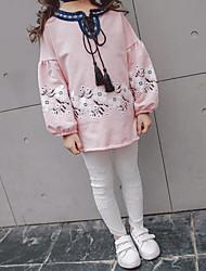 abordables -Ensemble de Vêtements Fille Quotidien Couleur Pleine Coton Fibre de bambou Printemps Manches courtes Décontracté Rose Claire