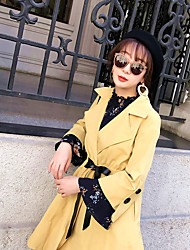 cheap -Women's Cotton Sexy Winter Coat,Solid Shirt Collar Long Sleeves Long Cotton Formal Style