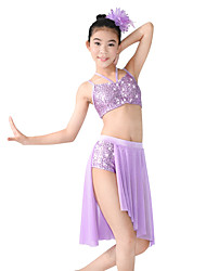cheap -Ballet Latin Dance Jazz Outfits Women's Stage Spandex Elastic Mesh Sequined Paillette Split Flower Criss Cross Sleeveless Natural Skirts