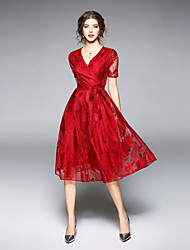 cheap -Seduction Gold House Women's Going out Street chic Swing Dress - Solid Colored Red V Neck