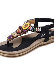 Недорогие -Жен. Обувь Дерматин Весна Лето Модная обувь Удобная обувь Оригинальная обувь Сандалии Каблук с хрустальной отделкой для Свадьба