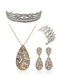 cheap -Women's Rhinestone Imitation Diamond Drop Jewelry Set Body Jewelry / 1 Necklace / 1 Bracelet - Fashion / European White Tiaras / Bridal