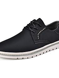 baratos -Homens sapatos Micofibra Sintética PU Primavera Outono Conforto Oxfords para Casual Preto Khaki