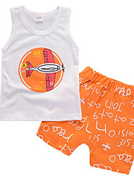 cheap -Boys' Daily Clothing Set, Cotton Summer Sleeveless Casual Orange Gray Light Green Light Blue