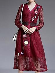 cheap -Women's Party Vintage Sheath Dress,Solid V Neck Knee-length Long Sleeve Nylon Fall High Rise Micro-elastic Thin