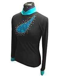 baratos -Top para Patinação Artística Mulheres / Para Meninas Patinação no Gelo Blusas Preto Elastano Com Stretch Espetáculo / Praticar Roupa para