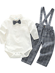 cheap -Baby Boys' Daily Solid Check Clothing Set, Cotton Polyester Spring Simple Long Sleeves Blue White
