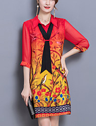 baratos -Feminino Solto Reto Camisa Vestido,Para Noite Moda de Rua Estampado Colarinho de Camisa Acima do Joelho Metade da luva Seda Poliéster