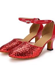 baratos -Mulheres Sapatos de Dança Moderna Paetês / Courino Salto Lantejoula Salto Personalizado Personalizável Sapatos de Dança Vermelho