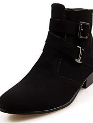 baratos -Homens sapatos Couro Ecológico Courino Inverno Sapatos formais Botas da Moda Conforto Botas Botas Cano Médio Presilha para Casual Ao ar