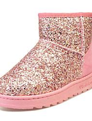 Недорогие -Жен. Обувь Полиуретан Зима Удобная обувь Зимние сапоги Ботинки На низком каблуке Круглый носок Ботинки для Повседневные Серебряный Розовый