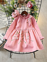 cheap -Girl's Daily Holiday Solid Embroidery Dress,Cotton Polyester Spring Fall Long Sleeves Cute Yellow Blushing Pink