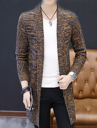 cheap -Men's Long Cardigan - Solid Round Neck