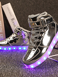 cheap -Girls' Shoes Customized Materials Patent Leather Winter Spring Light Up Shoes Comfort Sneakers Walking Shoes LED Hook & Loop Lace-up for
