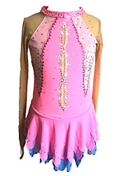 cheap -Figure Skating Dress Women's / Girls' Ice Skating Dress Pink Spandex Skating Wear Sequin Long Sleeve Figure Skating