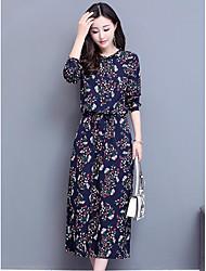 cheap -Women's Cotton Chiffon Dress Print
