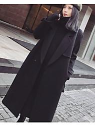 preiswerte -Damen Solide Einfach Lässig/Alltäglich Mantel,Hemdkragen Winter Langarm Lang Wolle
