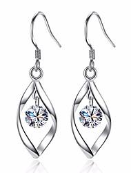 cheap -Women's Leaf Cubic Zirconia Drop Earrings - Basic / Fashion Silver Earrings For Daily / Ceremony