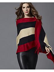 preiswerte -Damen Standard Mantel / Capes-Alltag Einfach Solide Rundhalsausschnitt Langarm Polyester Frühling Undurchsichtig Mikro-elastisch