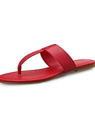 Недорогие -Жен. Обувь Искусственное волокно Весна / Лето Удобная обувь Сандалии На плоской подошве Черный / Красный