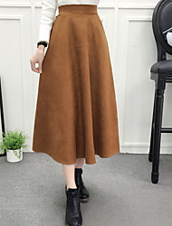 cheap -Women's Daily Midi Skirts,Casual Swing Linen Print Fall/Autumn