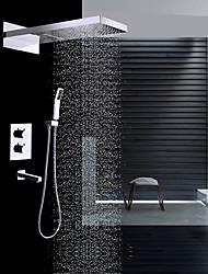 Moderní Nástěnná montáž Vodopád Dešťová sprcha Včetne sprchové hlavice Termostatický Keramický ventil Dvěma uchy čtyři otvory Pochromovaný