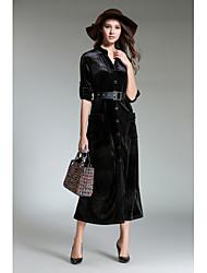 cheap -SHE IN SUN Women's Going out Vintage Sheath Dress,Solid V Neck Midi Long Sleeve Velvet Fall High Waist Inelastic Opaque