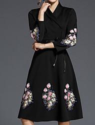 Недорогие -Жен. Вышивка А-силуэт Платье - Однотонный / Тонка шерсть V-образный вырез Средней длины / Весна