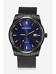 Недорогие -SHI WEI BAO Муж. Наручные часы Модные часы Китайский Кварцевый Календарь Нержавеющая сталь Группа На каждый день Черный