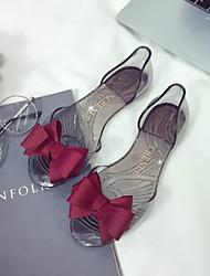 Недорогие -Жен. Обувь ПВХ Лето Удобная обувь Сандалии На плоской подошве Открытый мыс Красный / Синий / Миндальный