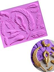 billiga -olika fjäderblad vingar silikon kaka mögel diy choklad fondant tårta dekoration