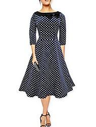 cheap -Women's Cute Faux Fur A Line Dress - Polka Dot Lace High Waist