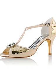 preiswerte -Damen Schuhe Stretch - Satin Sommer Pumps Hochzeit Schuhe Stöckelabsatz Peep Toe Kristall für Hochzeit Party & Festivität Champagner