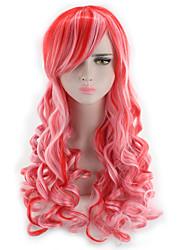 abordables -Cheveux Synthétiques Perruques Ondulé Ondulation naturelle Ligne de Cheveux Naturelle Mèches Colorées / Balayées Sans bonnet Perruque