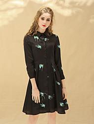 cheap -Women's Little Black Dress - Animal Print Shirt Collar