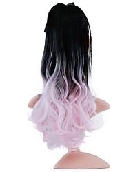 abordables -Correa Coletas Amarrada Pelo sintético Pedazo de cabello La extensión del pelo Rizado