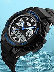 Недорогие -SKMEI Для пары Цифровой Спортивные часы Японский Календарь Защита от влаги Фосфоресцирующий Хронометр С двумя часовыми поясами PU Группа