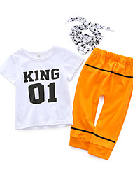 cheap -Baby Boys' Daily Simple Clothing Set, Cotton Spring Casual Short Sleeve White