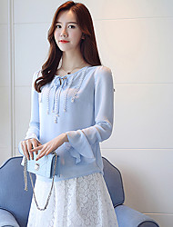 cheap -Women's Daily Street chic Spring Fall Blouse,Solid Round Neck Long Sleeve Polyester Semi-opaque
