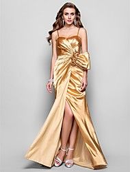 levne -A-line princezna spaghetti popruhy milá podlaha délka úsek saténové šaty prom s květinou ts couture®