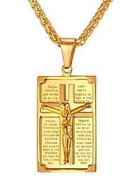 Недорогие -Муж. Крест форма Классика На каждый день Ожерелья с подвесками , Нержавеющая сталь Ожерелья с подвесками Подарок Повседневные Бижутерия