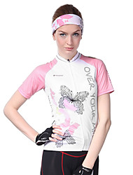 cheap -Nuckily Women's Short Sleeve Cycling Jersey - Pink Bike Jersey, Ultraviolet Resistant, Breathable, Reflective Strips Polyester, Lycra / Stretchy / SBS Zipper / Sweat-wicking