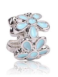 cheap -DIY Jewelry 1 Beads Black Light Blue Flower Zircon Alloy Bead 0.5 cm DIY Bracelet Necklace