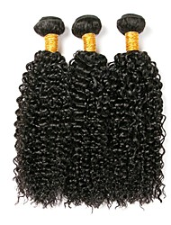 cheap -Brazilian Hair Kinky Curly Natural Color Hair Weaves Human Hair Weaves Natural Black Women's