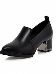preiswerte -Damen Schuhe Kunstleder Frühling / Herbst Komfort / Neuheit High Heels Blockabsatz Spitze Zehe Schwarz / Rot / Blau / Kleid