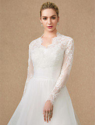 cheap -Long Sleeves Lace Tulle Wedding Party / Evening Women's Wrap With Appliques Lace Zipper Shrugs
