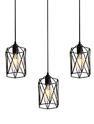 cheap -3-Head Vintage Black Metal Cage Shade Pendant Lights Living Room Dining Room Light Fixture Painted Finish