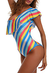 cheap -Women's Off Shoulder One-piece - Multi Color Reactive Print, Classic Style Briefs