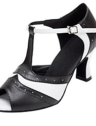 cheap -Women's Latin Faux Leather Sandal Heel Professional Customized Heel Black/White / Customizable