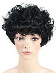 abordables -Pelucas sintéticas Rizado / Ondulado Corte Pixie / Con flequillo Pelo sintético Peluca afroamericana Negro Peluca Sin Tapa